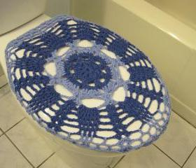 Crochet Toilet Seat Cover - blue bell/denim(TSC10A) & taupe heather/oatmeal (TSC10B)