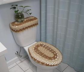 Set of 2 Crochet Covers for Toilet Seat & Toilet Tank Lid, Cozies - oatmeal/topaz (TSTTL3B)