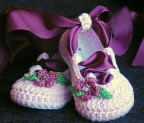 Crochet Baby Pattern Ballerina Ballet booties PDF - Pattern number 202