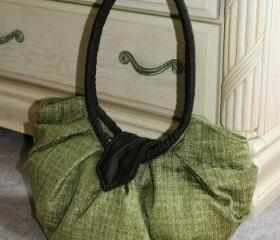 Large olive green pleated hobo bag purse