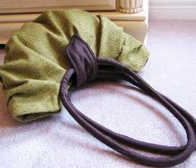 Large olive green pleated canvas hobo bag