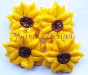 Sun flowers - set of 4 polymer clay buttons