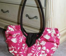 Large pleated hobo bag, stylish diaper bag purse - Pink wildflower""