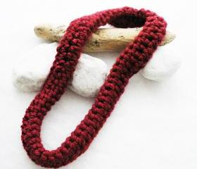 Crochet Necklace Wool Neckwarmer Rich Red Merino Wool. Statement. Winter Accessories Handmade by SteamyLab.
