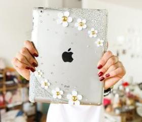 Ipad case Bling Flower crystal ipad cover bling crystal case Swarovski crystals Rhinestone Handmade ipad case shinny decorate ipad case