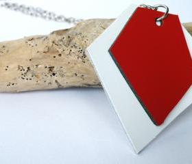 Long Pendant Necklace. Leather Pendant. Geometric Necklace. Asymmetric Red and White Leather. Wearable Art. SteamyLab.