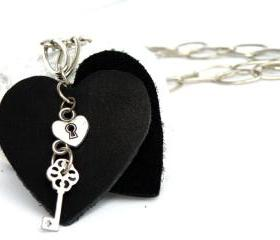 Long Pendant Necklace Black Leather Heart Pendant Charms Pendant Leather Jewelry Recycled Leather by SteamyLab
