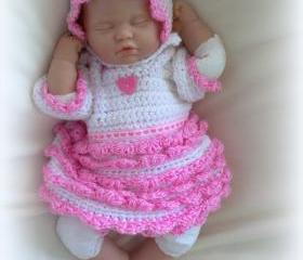 Sweet Heart crochet dress, bonnet and diaper cover set