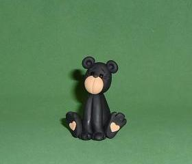 Polymer Clay Sitting Black Bear