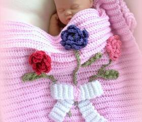 Three Rose Bouquet Newborn receiving, Nursery Blanket