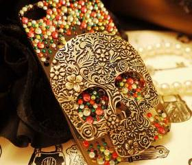 Retro Vintage Skull Rhinestone Handmade Case For Iphone 5
