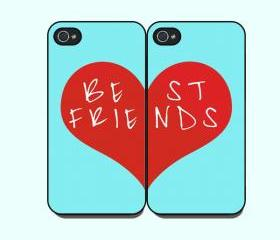 BEST FRIENDS-- iphone 4 case in Pair,iphone 4 cover, in durable plastic case ,black or white case side