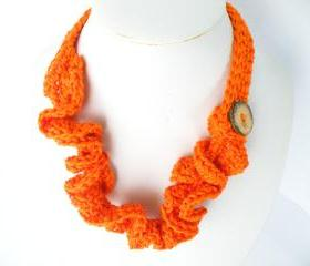 Crochet Necklace Bright Orange Cotton Wavy Coconut Button Spring Summer Fashion Soft Energising, Handmade by SteamyLab.