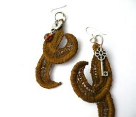 Vintage Lace Earrings. Hand dyed Brown Lace Hook Earrings. Upcycled Jewellery. Unique Jewelry. Handmade by SteamyLab.