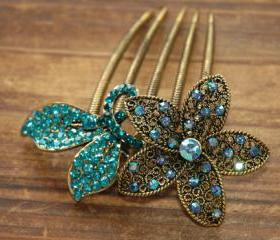 Teal Blue Gold Rhinestone Flower Blossom Hair Comb