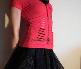 Romantic red Valentine shredded reconstructed vest top cosplay lolita