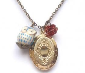 Antiqued Brass Locket Flower Porcelain Owl Necklace