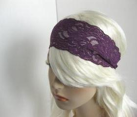 Deep Plum Stretch Lace Headband Purple Floral Head Wrap Women's Hairband Hair Accessory