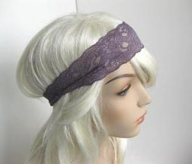 Purple Lavender Stretch Lace Headband Mauve Floral Head Wrap Women's Hairband Head Wrap Hair Accessories