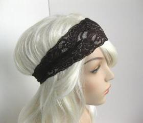 Dark Brown Stretch Lace Headband Floral Head Wrap Women's Hairband Hair Accessory