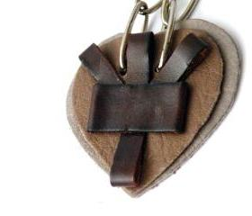Long Pendant Necklace. Leather Heart Pendant. Brown Recycled Leather. Leather Jewelry. SteamyLab Design.