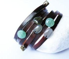 Cuff Leather Bracelet. Multi Strand. Glass beads. Green Tones. Brown Printed Leather. by SteamyLab.