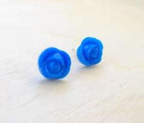 Rose Earring Studs, Blue Rose Post Earrings, Tiny Floral Stud Earrings, Button Jewelry, Under 20