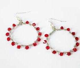 January Birthstone Garnet Red Swarovski Crystals Hoop Earrings Birthstone Jewelry Wire Wrapped Hoops by SteamyLab