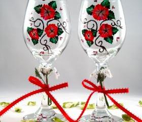 Wine Glasses With Red Flowers