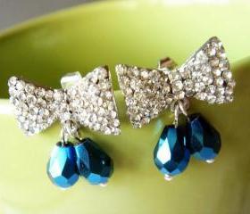 Blue Crystal Bow Stud Earrings