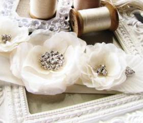 Handcrafted Off White Wedding Bridal Sash Belt Taffeta and Rhinestones