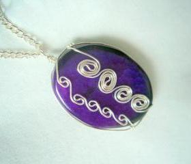 Wire Wrap Pendant Necklace Purple Dragon Vein Agate Stone Non Tarnish Silver Plated
