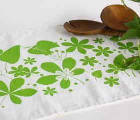 White Linen Placemat hand printed with colorful leaves - set of two