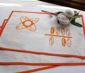 Cotton PLACEMATS set of 2 natural cotton tablemats with flowers and leaves hand printed