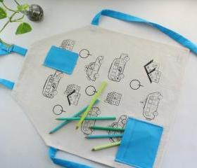 Kids apron with cars screenprinted for coloring - Cotton apron for children from 5 years and up.