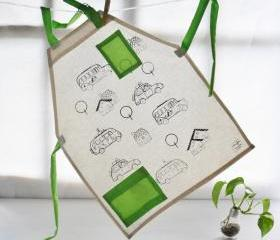 Children apron with cars screenprinted for coloring