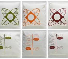 Pick 2 Pillow Covers leaves and flowers hand printed - 16&quot;x16&quot;