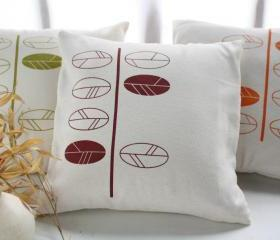 Decorative Pillow Covers with hand printed leaves -20'x20'