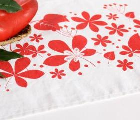 Linen placemat hand printed with colorful leaves - set of two
