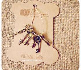 Antique Mixed Key Brass Charm Metal Set 1