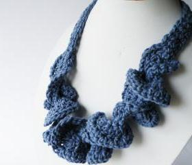 Crochet Necklace Gothic Light Blue Cotton Spring Summer Fashion Funky Coconut Button. Handmade by SteamyLab.