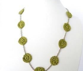 Hippie crochet Necklace Textile Jewelry Olive Green French Cotton Spring Summer Fashion by Steamylab.