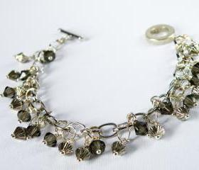 Wire Wrapped Bicone Smoky Quartz Swarovski Crystal Beaded Bracelet Fashion Accessories Charm Jewelry Women Jewellery by Steamylab