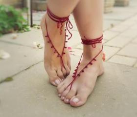 Beaded barefoot sandals. Sexy crochet foot jewelry, Wine red drops bridasmade gift idea, nude shoes, yoga, belly dance
