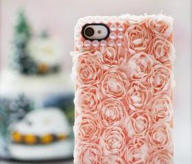 Lace Rose Pearl iphone4 4s5 5s 6 6plus 6s case iphone cover bling handmade
