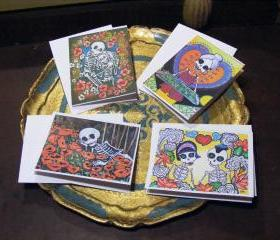 Day of the Dead Greeting Cards - Mini Prints - Skeletons Love Thanks Birthday Friends - Blank Cards