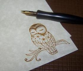 Sweet Sleepy Owl - Stationery Set - Vintage Parchment Paper - Vintage Inspired - 50 Sheets 25 Envelopes