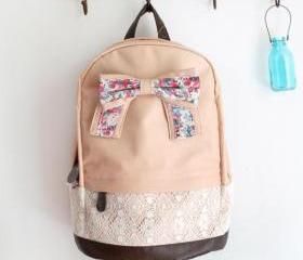 Fashion Backpack with Red Floral Bow & Lace-light pink