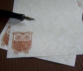 Owl Stationery Set - Art Deco - Vintage Appearance - 30 Parchment Sheets 30 Envelopes