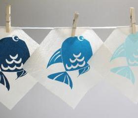 Baby decor - Blue fish screen printed onto cotton - Set of 3